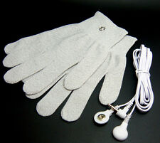 CONDUCTIVE MASSAGE GLOVES SIZE LARGE WITH JACK 3.5MM LEAD WIRES FOR TENS MACHINE