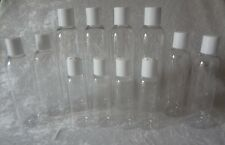 8/4/2 oz lot 12 Plastic Clear Cosmo Rounds/Bullet Bottles+White Dispensing Disc
