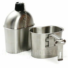 G.I. Military Style Steel Stainless 1 Quart Canteen w/ Cup Nylon Pouch Cover