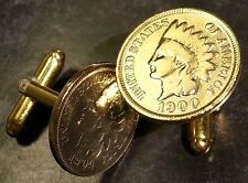 Antique 1800s 1900s 24k Gold Plated Indian Head Penny Cent Coin Cufflinks + Box!