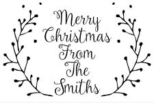 Personalised Laser Rubber Stamp - Merry Christmas Berries