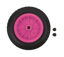 "PU 14"" Puncture Proof PINK Wheelbarrow Wheel Tyre 3.50 - 8 Light Weight FOAM"