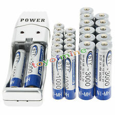 12 AA +12 AAA 1000mAh 3000mAh 1.2V NI-MH BTY Rechargeable Battery + USB Charger