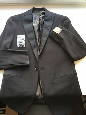 NWT $1395 CURRENT Eidos Napoli by Isaia Black Tuxedo Smoking Peak Lapel 38R/48R