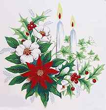 """6 Christmas Candle Poinsettia Holly Berries 2""""  Waterslide Ceramic Decals Xx"""