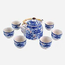 Blue and White Nine Dragon - Oriental Chinese Teapot and Six Teacups Tea Set MA