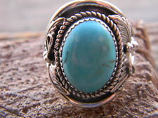 Magnificent Sterling silver mens ring  blue turquoise 4 leaves  size 10