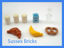 Lego Food Drink - Take Out Coffee Cups Milk Bottle Pretzel Croissant Banana City