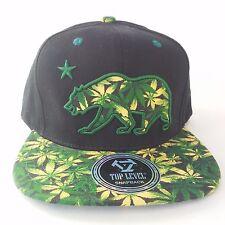 CALIFORNIA REPUBLIC Snapback Cap Hat CALI Bear Marijuana Weed Dope 420 Visor NWT