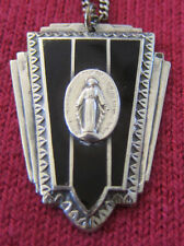 Antique Catholic Religious Medal - STERLING - Miraculous // ONYX // GORGEOUS