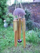 Fairtrade Pequeño bambú y Coco Campanas De Viento Jardín campanas de 25CM DE DESPACHO DE UK