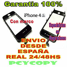 PANTALLA TACTIL PARA IPHONE 4 4S MARCO DIGITALIZADOR CRISTAL TOUCH SCREEN  NEGRO
