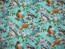 SONG BIRDS CHERRY TREE PINK BLOSSOMS Wild Wings COTTON FABRIC Priced By The Yard