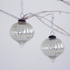 Large Antique Effect Glass Christmas Bauble - Set Of Two