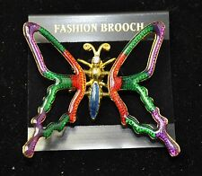 Vintage butterfly Style  Brooches Gold/multi color Bouquet us-seller 87