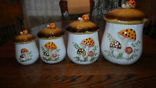 Set of 4 Merry Mushroom Embossed Canisters with Lids 1978  Sears Roebuck Co