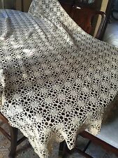 "Lovely Vintage Antique Hand Crocheted Ecru Lace Coverlet Throw 96"" X 50"""