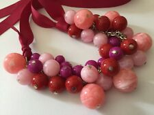 Lucite Beaded Statement Necklace Pink Red Purple Kitsch Plastic Beads Ribbon Tie