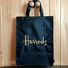 NEW Harrods Medium Black Canvas Tote Shopper Shoulder Bag