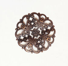 12 brass filigree flower focal 22mm  available  4 colors