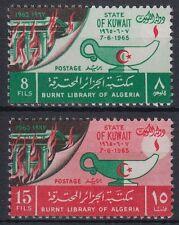 Kuwait 1966 ** Mi.283/84 Algerien Algeria Bibliotheksbrand burnt library