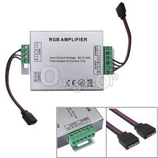 Signal Amplifier Repeater DC 12V 12A LED RGB 5050 3528 SMD Strip Light + 2 cable