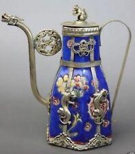 Chinese Blue Porcelain Dragon Leopard Tea Pot