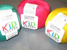Euro Baby KID COTTON DK Knitting Yarn / Wool 100g X 3 Balls