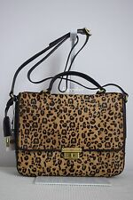 Fossil $349 Memoir Flap Black Cheetah Calf Hair Fur Leather Bag Handbag BNWT
