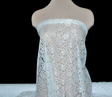 RASCHEL LACE FABRIC WHITE, PAGEANT ,FORMAL DRESS , BRIDAL, OVERLAY, HOME DECOR
