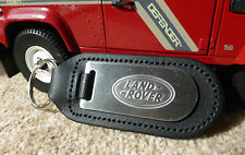 Land Rover Defender Range Discovery Quality Alloy & Black Leather Key Ring Fob
