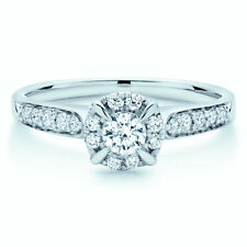 Special offer !!!  Round Diamond Halo Set Engagement Ring in White Gold
