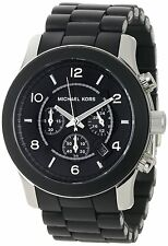 NEW MICHAEL KORS BLACK OVERSIZE SILICONE CHRONOGRAPH WATCH-MK8107