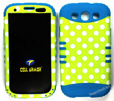 KoolKase Hybrid Silicone Cover Case for Samsung Galaxy S3 - Polka Dots Green