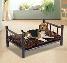 Large Wooden Dog Bed Couch Pet Furniture Raised Cat Cot Indoor Outdoor w/Cushion