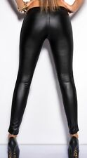Ladies PU Leather Patch Leggings See-through Rock Punk Funky Slim Pants one size