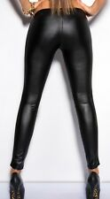 Sexy Ladies Mesh See through dancing club wear leggings faux leather lingerie UK