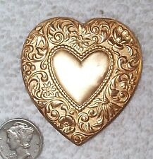 VINTAGE FABULOUS FLORAL LARGE BRASS HEART STAMPINGS FINDINGS 6 PIECES