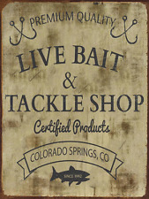 Live Bait Metal Sign, Fishing, Rustic Décor, Cabin Décor, Mancave, Sportsman