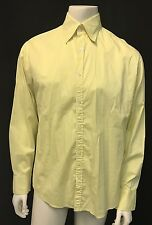 Men's THEORY Canary Yellow Bottom Down Casual Summer Business LS Shirt Sz L