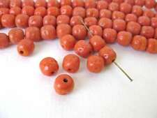 Vintage Japanese Beads Cherry Brand Orange Coral Glass Baroque Rounds 10mm