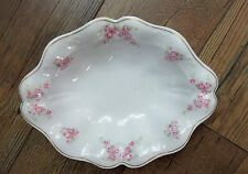 Earlier CT Tielsch Germany Oval Serving Bowl 21235 PINK ROSE Scalloped Gold 10""