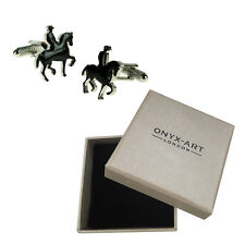 Mens Horse & Rider Racer Cufflinks & Gift Box By Onyx Art
