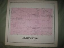 SUPERB ANTIQUE 1866 NORTH COLLINS SHIRLEY ERIE COUNTY NEW YORK HANDCOLORED MAP N