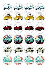 24 VW BEETLE THE LOVE BUG CAR TOPPERS ICED/ ICING EDIBLE FAIRY/CUP CAKE  TOPPERS