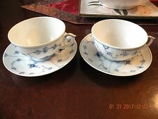 Royal Copenhagen Blue Fluted Flat Cup and Saucers - Two Sets