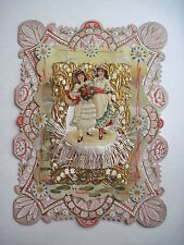 1893 Vintage Antique Victorian Valentine Card -Gold Paper Lace & Cloth Fringe *