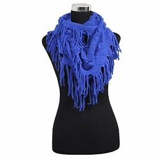 New Women's Fashion Royel Blue Soft Warmer Cowl Fringe Net Infinity Scarf