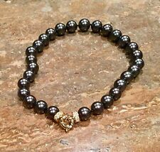 """PEARLFECTION"" BLACK SOUTH SEA PEARL & CRYSTAL ACCENT NECKLACE FABULOUS!!!"