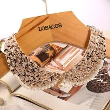 Vintage White Pearl False Fake Gold Sequin Collar Choker Statement Necklaces